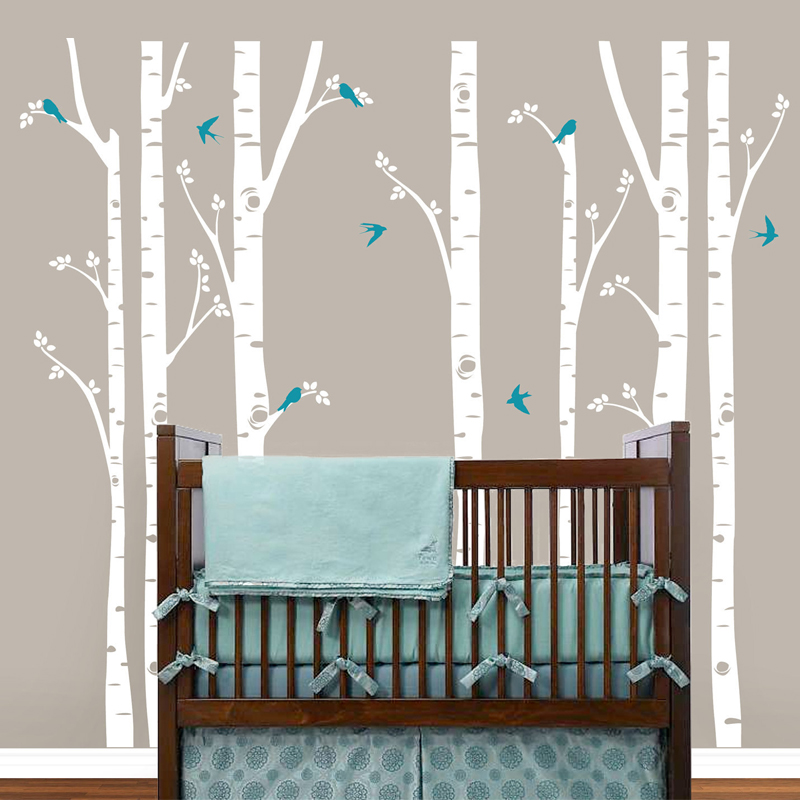Birch Trees Wall Decals Tree Wall Sticker Removable White
