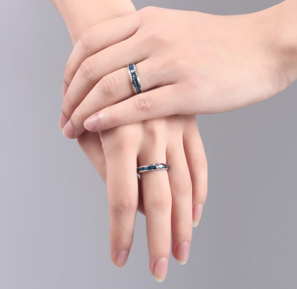 ᐊ2 pcs/lots Trendy Forever Love Ring Set High Polished Stainless ...