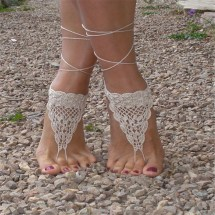 White Crochet Barefoot Sandals Nude Shoes Foot Jewelry