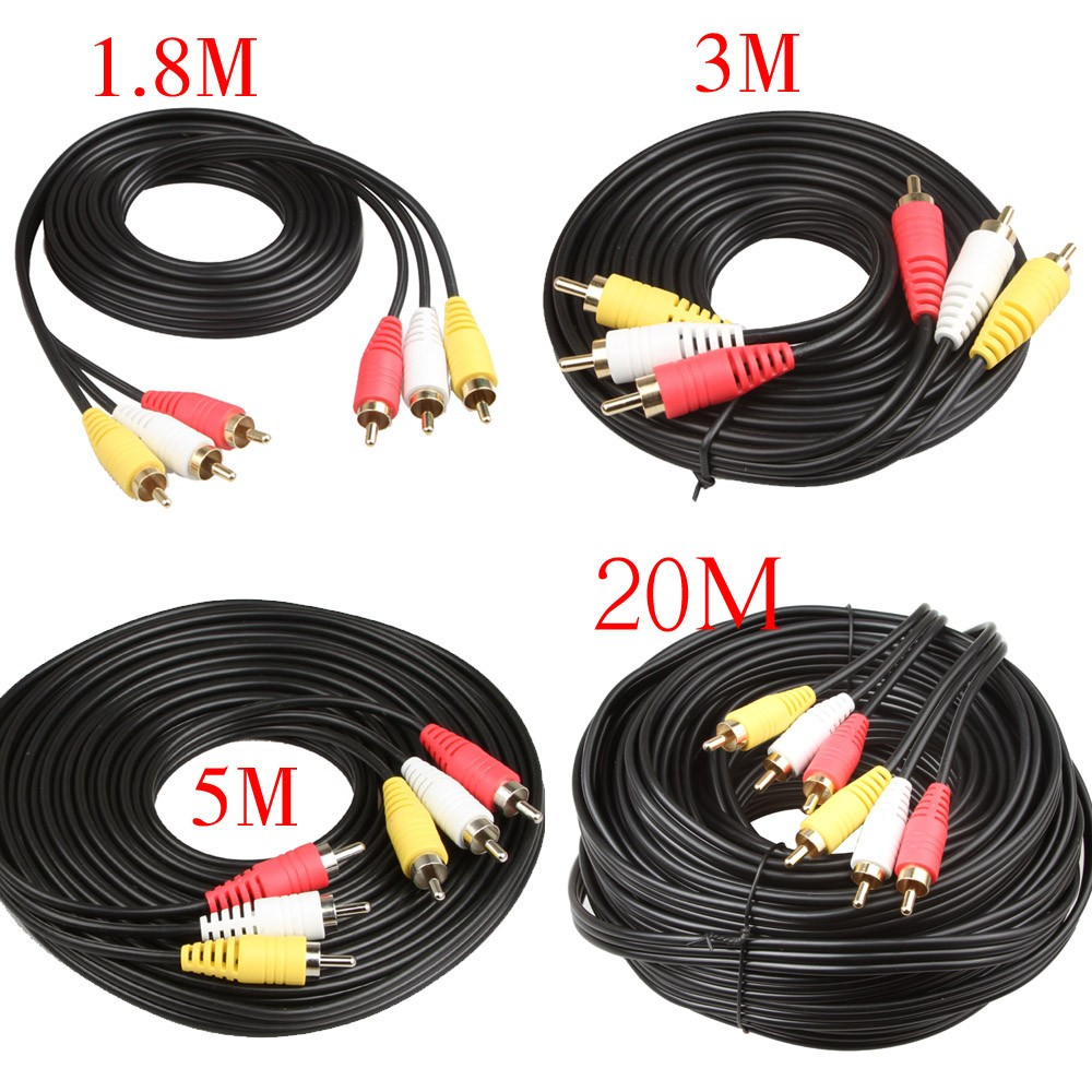 Relper Lineso 3 Rca Male Composite Audio Video Av Cable Plug 3x Wiring The Triple Cables Are A High Quality Solution For And Connections Color Coded Easy Connection Molded Strain Relief