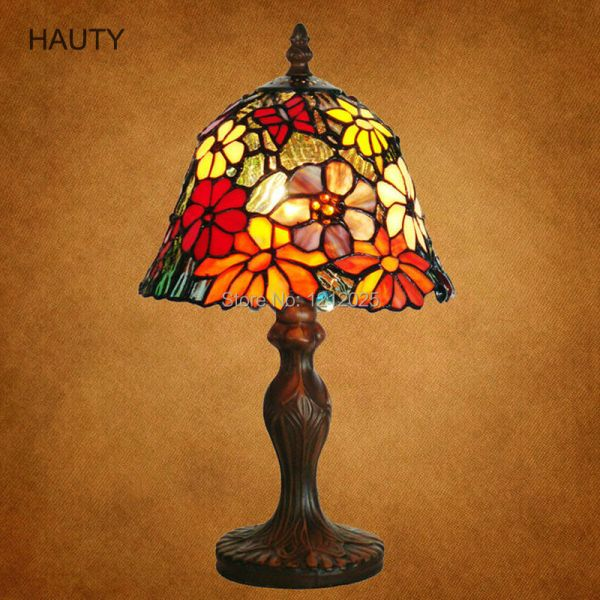 Antique Floral Design Tiffany Stained Glass Table Lamp