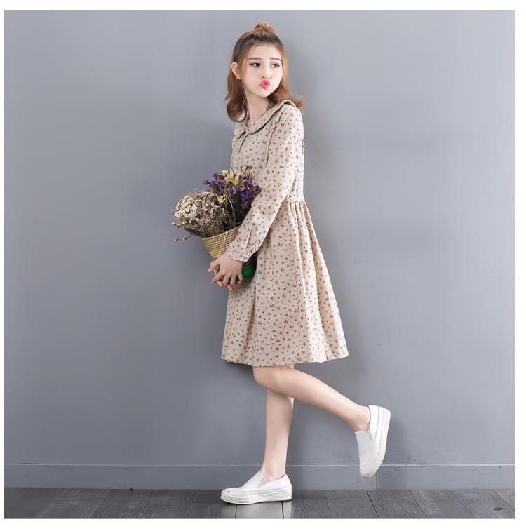 b0763901832c2 Vintage Retro Robe Femme Tunique Rockabilly Floral Printing Loose Peter Pan  Collar Long Sleeved Cotton Linen Spring Autumn Dress. linen dress, womens  ...