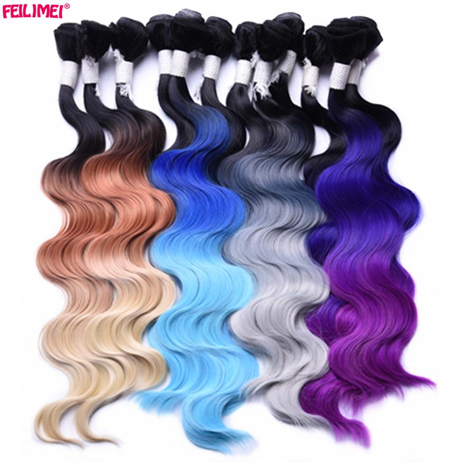ᗚFeilimei ombre extensiones de cabello gris 18 20 22 280g sintético ...