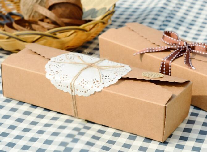 ღ ღ50pcs/lot 23.5*4*7cm Retro Mini Kraft Paper Box DIY Wedding ...