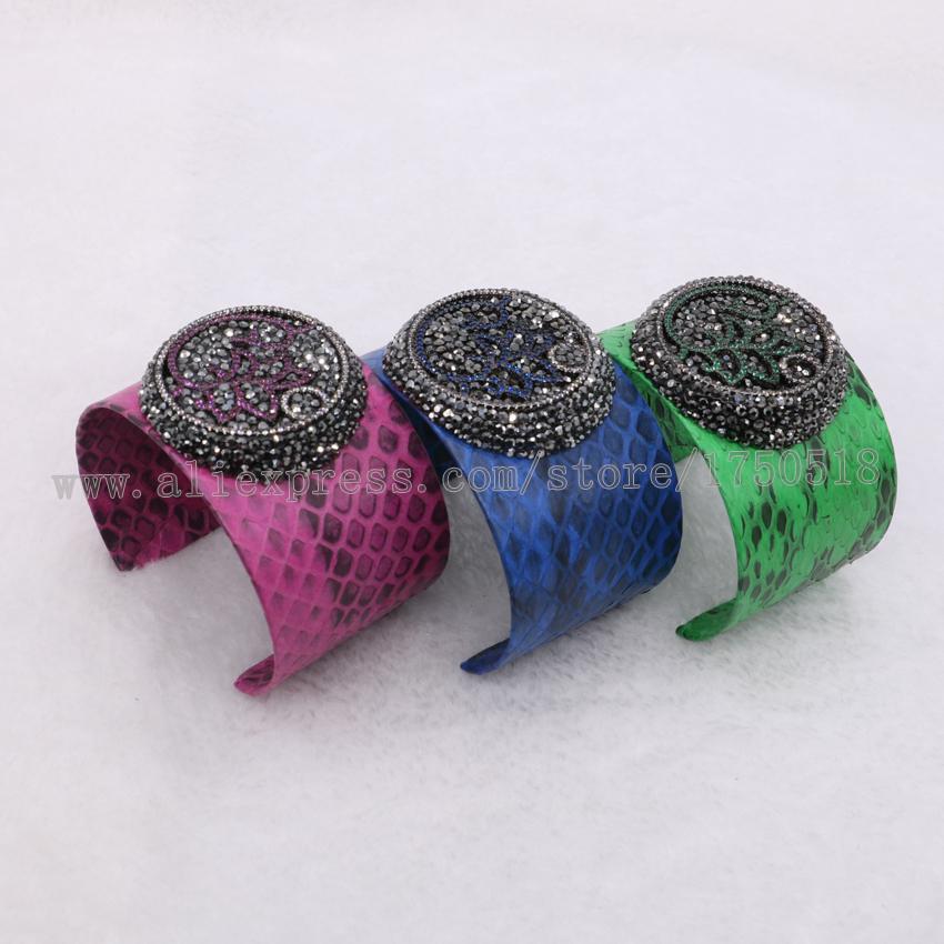 b5184384567d Serpiente real brazalete pulsera con ZIRCON cúbico perlas color de la  mezcla brazalete de cuero suave joyas 1010. pulseras cuero ...