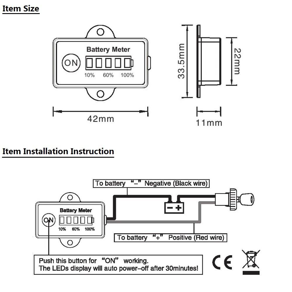 hight resolution of 48 volt golf cart club car ezgo battery charge status meter indicator 48v rectangle shapeusd 18 97 piece