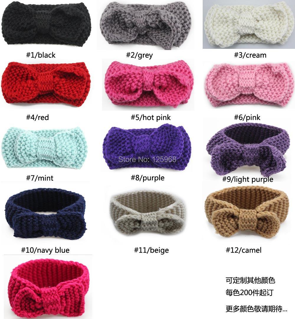ᗐEn venta 1 unids bowknot crochet knit tejidos headwrap Headband ...