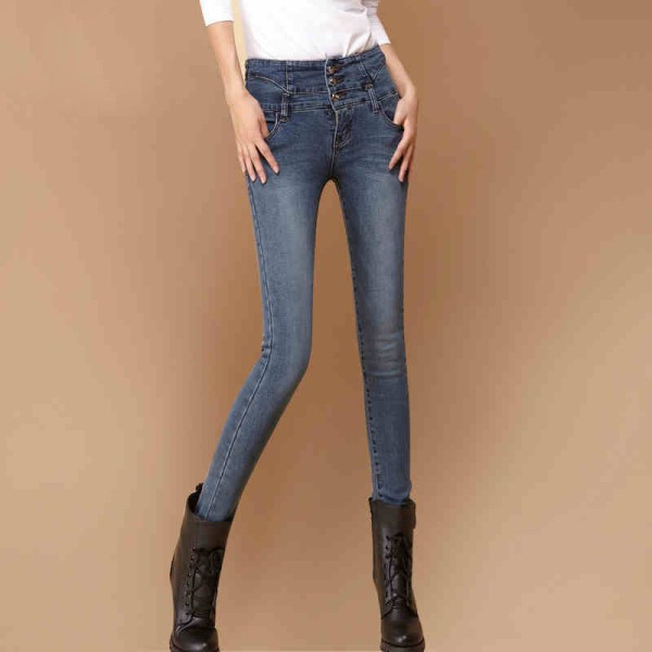 Skinny Jeans Women Blue Color Size Jean Push Cotton Stretch Cheap Denim High Waist