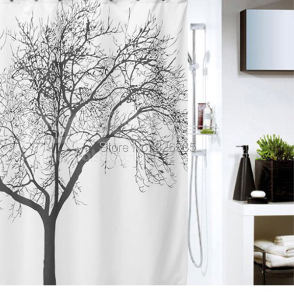 180 180cm Waterproof Tree Branch Pattern Shower Curtains Polyester