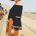 2016 F W Vintage Off Shoulder Blouse Sexy Fashion Bohemian Style Tassels Flare Sleeve Cotton and