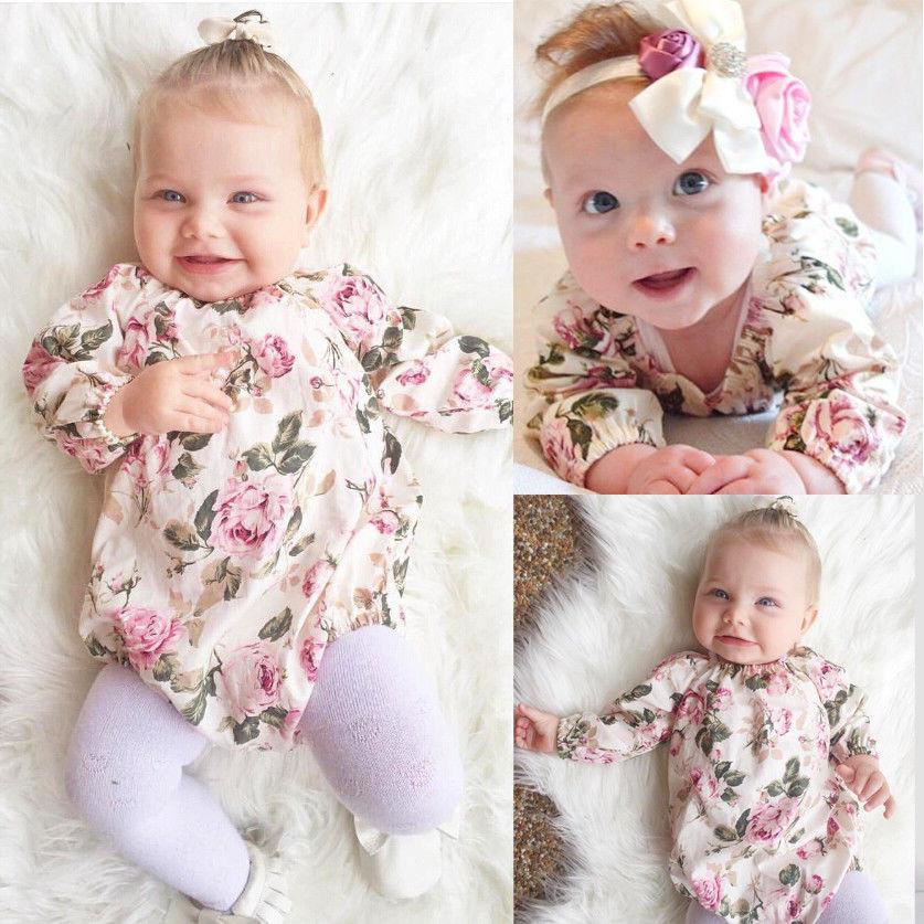 29a394fcbe Nuevo Bebé Niñas floral manga larga mono recién nacido niños otoño primavera  ropa traje sunsuit