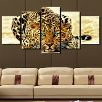 5 Plane Abstract Leopards Modern Home Decor Wall Art