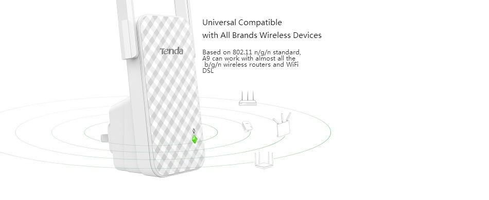 9e9120b0ce ᓂTenda A9 Wifi Router 300 Mbps 2   3dBi Antenas Amplificador de ...