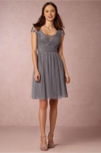 Tea Length Grey Bridesmaid Dresses With Short Sleeves V ...