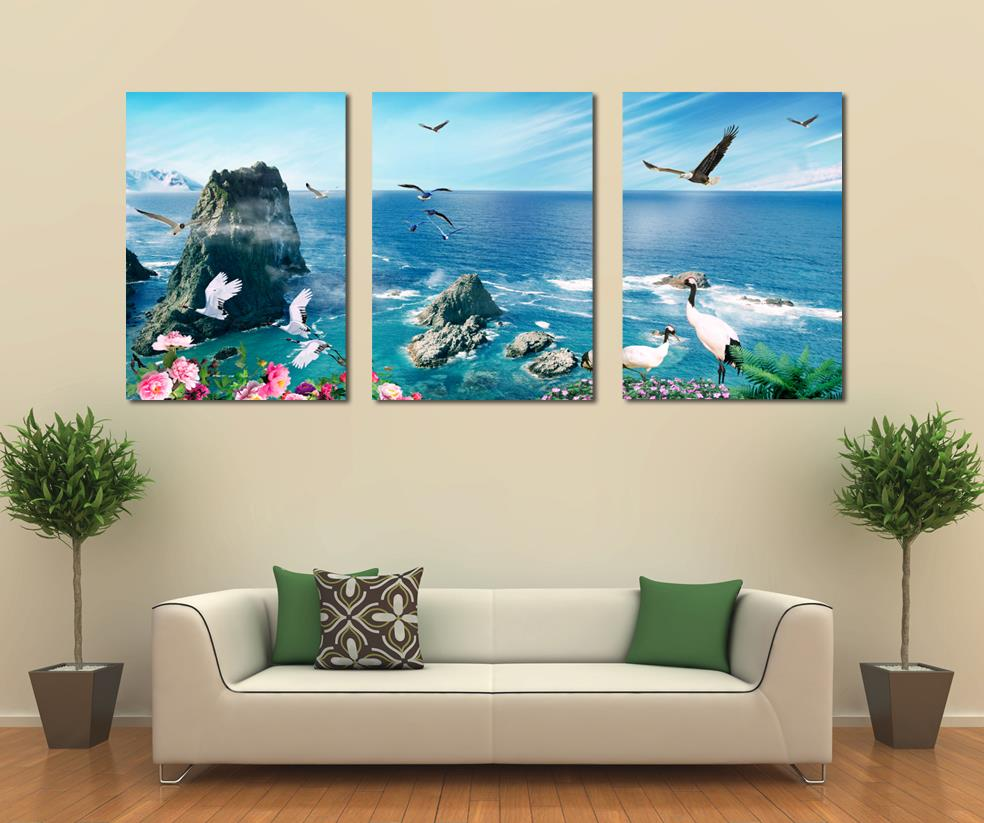 canvas prints for living room design my apartment free shipping 3 panel art home decoration wall beach painting modern office decor olivia