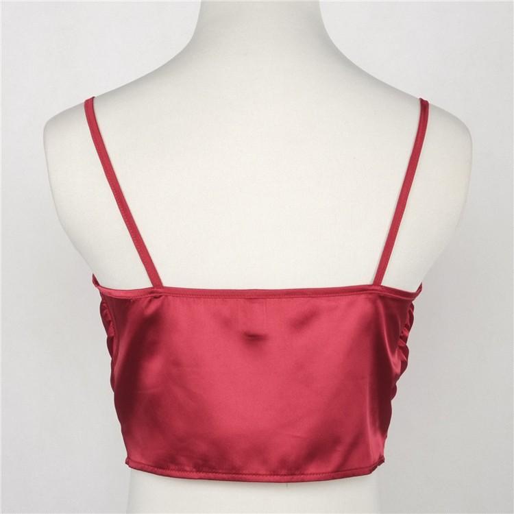 ①Simplee Sexy satin slip top frauen Sommer sleepwear stil ...