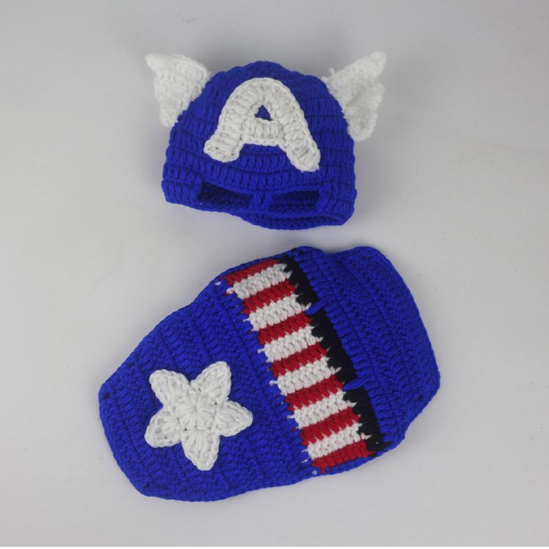 2016 New Newborn Boy Crochet Hat And Blue Cover Set Captain
