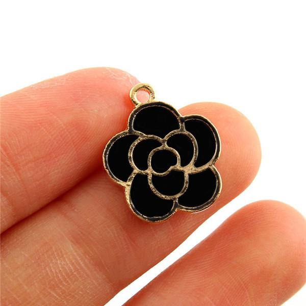 2e035464b56 ᗔ10 pcs 15x15mm Moda Liga Esmalte cor de Rosa de Ouro Charme ...