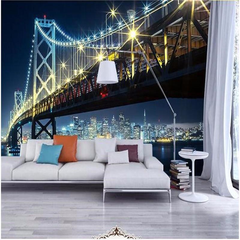 4d73f9c3355f ᐊBeibehang 3d большая стена росписи обои HD мост ночью под ...