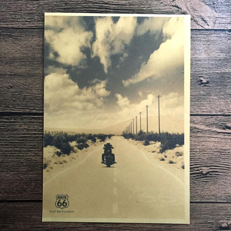 ღ Ƹ̵̡Ӝ̵̨̄Ʒ ღClassic Route 66 motorcycle Paint Vintage Kraft Poster ...