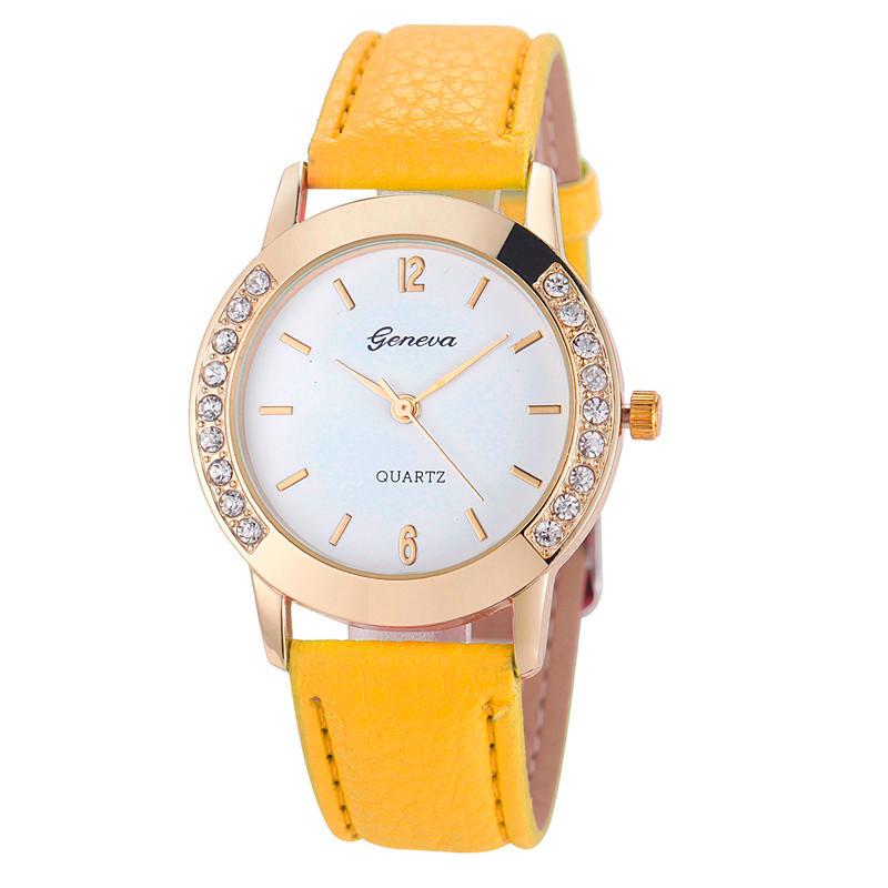 046097c07d2 Moda Genebra Mulheres Relógios De Luxo Diamante de Couro Analógico ...