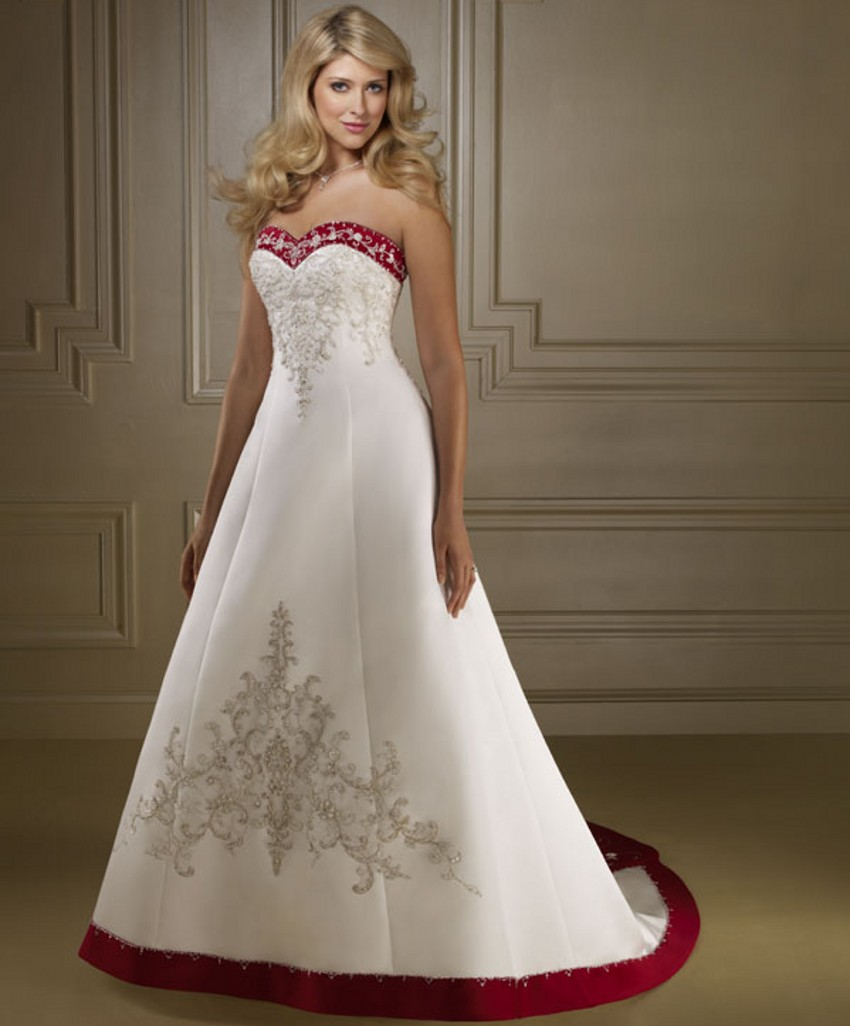 Bride Bridal Cheap Red and White Wedding Dresses China robe de mariage mariee Wedding Gowns