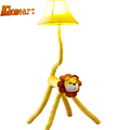 Top Led Yellow Lion Kids Floor Lamps Wood Cartoon Decor Standing Lamps 110V 220V E27 Fabric