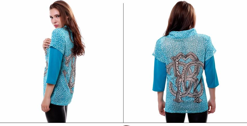 34541d312e5 BFDADI 2016 Новая мода Лето Осень женщины Сетки шить leopard Высоким  воротником большой размер Повседневная Майки Топы Футболка xl-5xl 7-62460