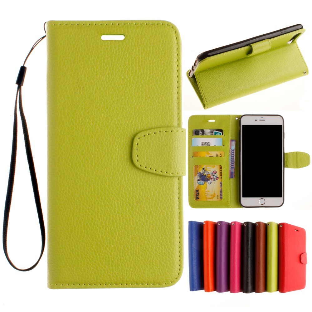 cdcdec745ad Para el iPhone 7 7 más 5S se 6 6 s más cubierta del teléfono Litchi grano  cartera Funda de cuero para iPhone 8 8 más 7 7 más .