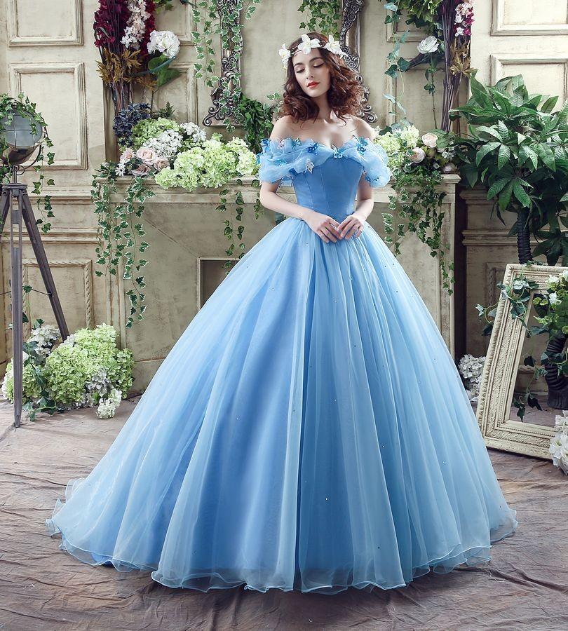 ②shamai W Magazynie Niebieski Motyl Cospaly Cinderella Dress Prom