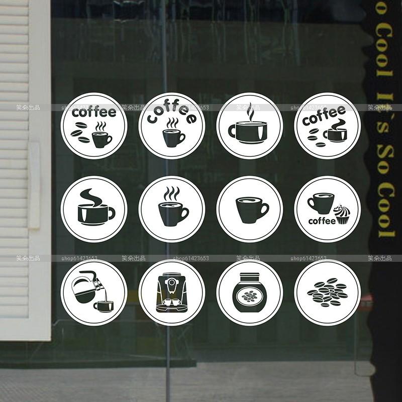 Coffee Shop Mural Art Vinyl Wall Decal Bar Coffee Cup Coffe Bean