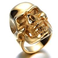 Mens Stainless Steel Ring, Viantage, Biker,gold, skull ...