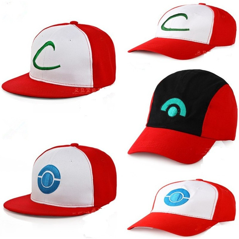 Composite Bats Cartoon Anime Poke mon Go Ash Ketchum Baseball Cap Cosplay Pocket Monster Pika chu hip hop Man Woman Adjustable Curved Visor Hat