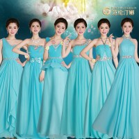 2015 new 6 styles long chiffon mint green turquise ...