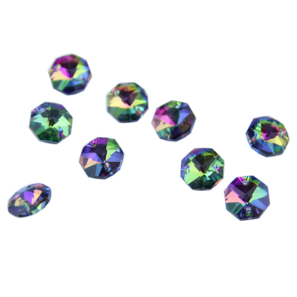 1000pcs free 1000pcs Rings Sapphire 14mm Crystal Octagon Beads In 2 Holes For Chandelier Lamp Or Garland Strand Free Shipping.