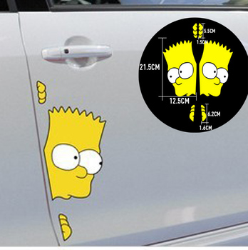 Two Pieces Bart Retro The Simpsons Vinyl Sticker On Car