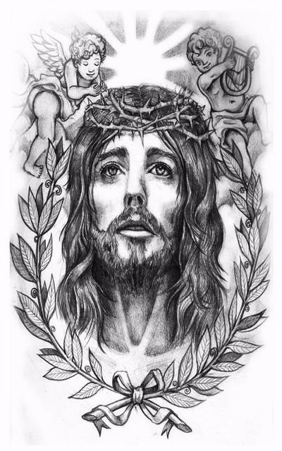 2 Unids Oración Santo Jesús Cristo Tatuaje Temporal Cuerpo Arte