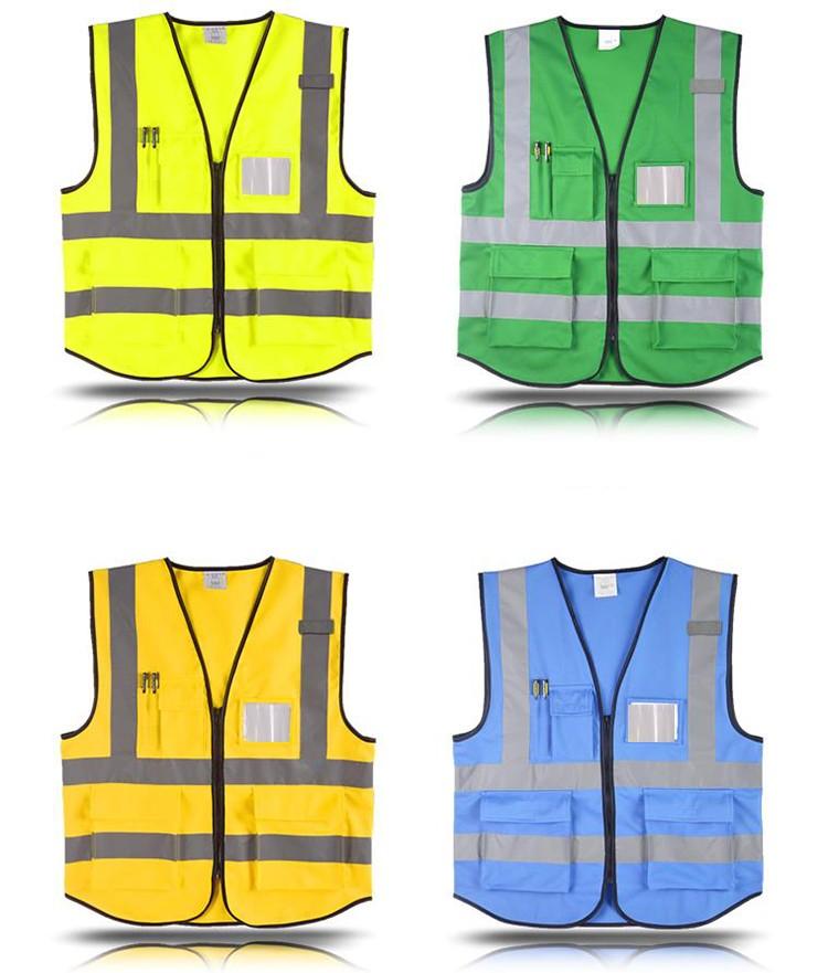 1917dc8498d Chaleco reflectante de seguridad de alta visibilidad Logotipo de impresión  Chaleco de trabajo multi bolsillos uniforme envío gratis