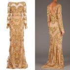 Long Sleeve Gold Evening Dress