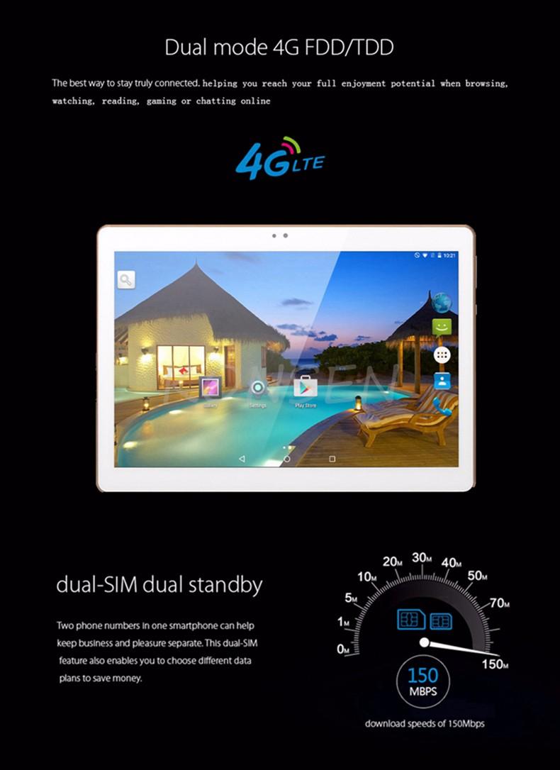 חדש 10.1 אינץ אנדרואיד 6.0 טבליות מחשב 1920x1200 IPS Quad Core 2GB RAM 16GB Dual SIM כרטיס 4G בע