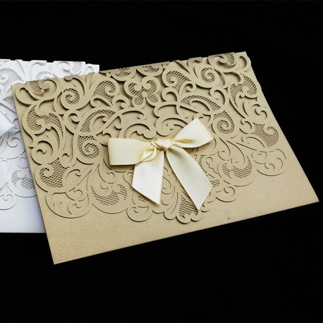 Wishmade Cw5185 White Royal Wedding Invitation Card Greeting With Laser Cut And Mirror Frame