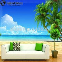 Great wall Modern 3D beach landscape large wallpaper ...