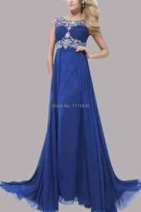 Newest 2015 Dark Blue Prom Dresses Long Illusion Scoop ...