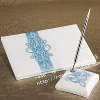 Wholesale Teal Scroll Wedding Guest Book And Pen Set In