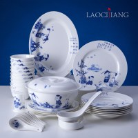 Porcelain chinaware dinnerware set 56 bowl plate blue and ...