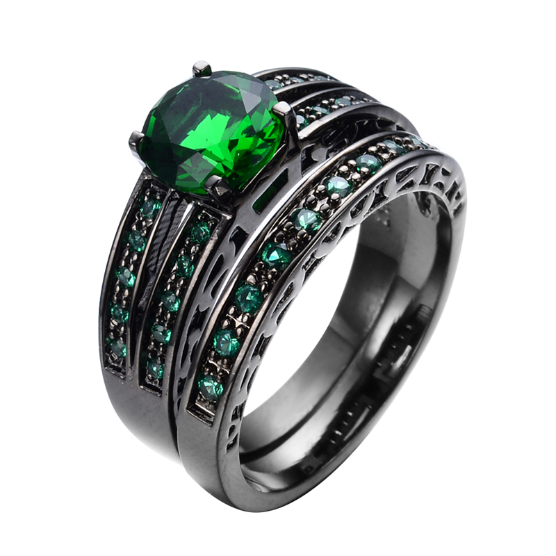 Gorgeous Green Emerald Jewelry Women/Men Ring Set Wedding