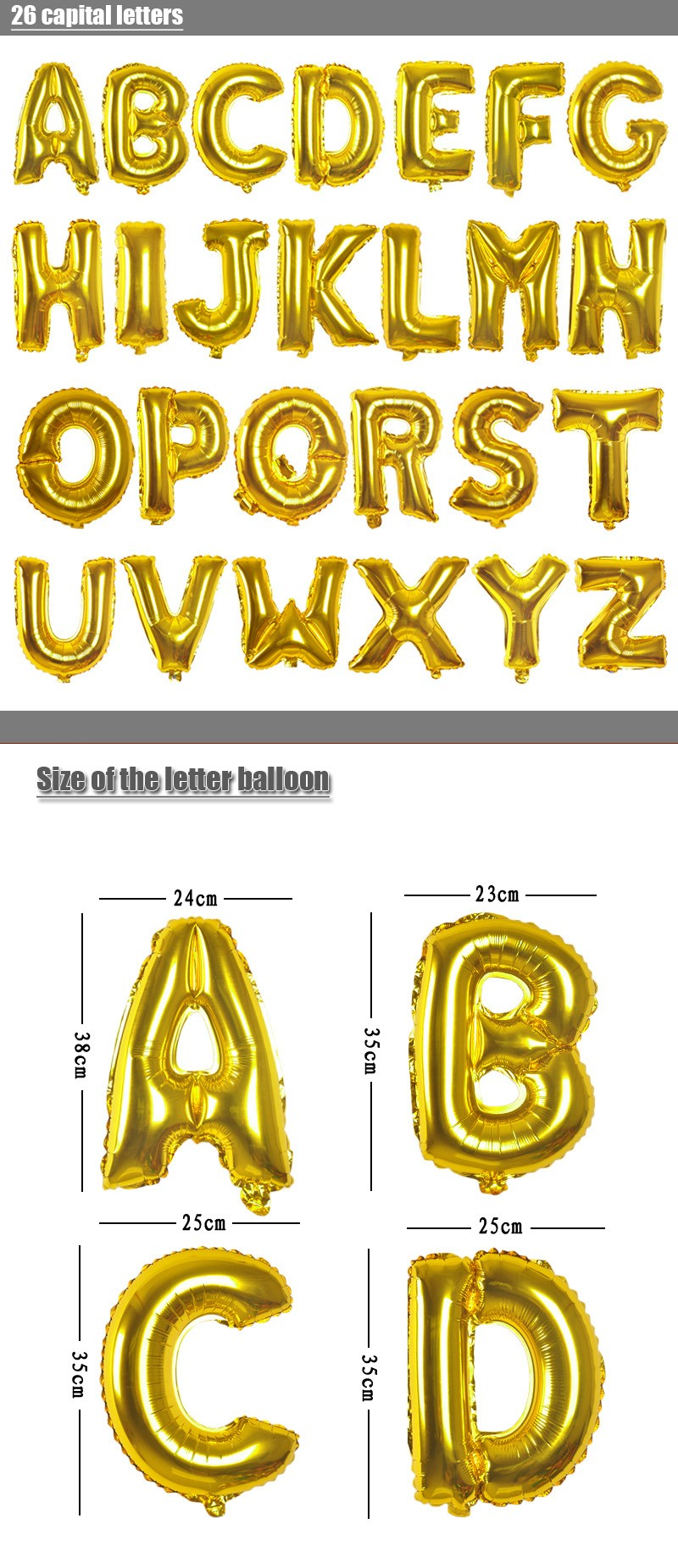 ୧ʕ ʔ୨1pc 16inch Gold Alphabet Letters Number Helium Balloons ...
