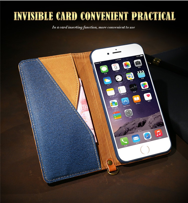 98202981892 Floveme Funda de cuero para iPhone 6 6 s 6g 4.7 pulgadas nuevo estilo  vaquero de negocios Flip stand teléfono coque cubierta con el titular del  dinero