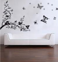 Trees and Butterfly Vinyl Wall Stickers Black Butterfly ...