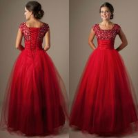 Cute-Red-Square-Neck-Tulle-Long-Puffy-Modest-Prom-Dress ...
